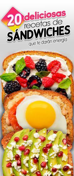 20 Deliciosas recetas de sándwiches que te darán energía. Food. Food Hacks. Healty food