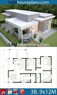 3d House Plans, House Plans Mansion, Model House Plan, House Layout Plans, Home Design Floor Plans, House Blueprints, Dream House Plans, Bungalow Haus Design, Modern Bungalow House