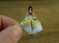 Miniature Victorian/ Civil War doll with green by TheHouseOfTiny