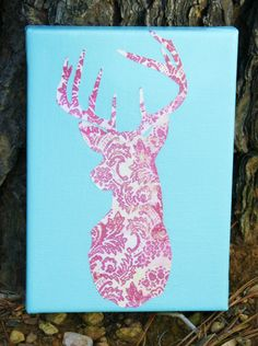 Pink and Blue Deer Silhouette Canvas Art, Country Home Decor .So I basically made this exact same thing! My deer is made of a different pattern. Cute Crafts, Crafts To Do, Arts And Crafts, Diy Crafts, Creative Crafts, Deer Silhouette, Diy Canvas Art, Diy Art, Art Projects