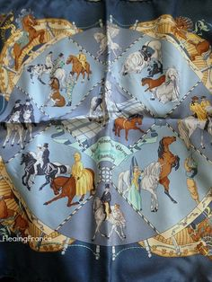 FleaingFrance.....Vintage Hermes Silk Scarf-Chantilly Blue