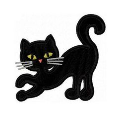 Halloween black cat applique machine embroidery by FunStitch, $2.69