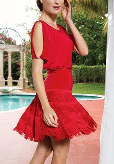 Dance America D507 - Blousan Fringe Latin Dress| Dancesport Fashion @ DanceShopper.com