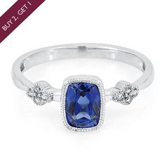 Lab-Created Blue & White Sapphire Stack Ring in Sterling Silver