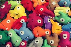 Our colourful handmade plushies - in miniature! www.babua.com.au