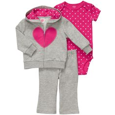 3-Piece French Terry Cardigan Set | Baby Girl Sets