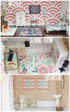 Maison de poupée : la chambre des parents, l'atelier de couture et la salle de bains