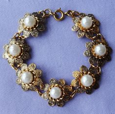 Vintage DAMASCENE Pearl Daisy Flower Link Bracelet