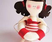 15% OFF SALE - Orietta ooak eco friendly mobile Doll- handmade in Italy - Ecoloriamo S/S 2012 collection. $31.00, via Etsy.