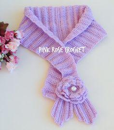 PINK ROSE CROCHET: Gola Cachecol Sweet Pink Scarflette