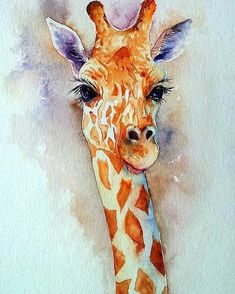 Deze giraffe is heelmaal af door gebruik van de aquarel techniek! This giraffe is completely finished by using the watercolor technique! Giraffe Painting, Giraffe Art, Diy Painting, Painting & Drawing, Giraffe Head, Watercolor Animals, Watercolor Paintings, Watercolours, Easy Watercolor