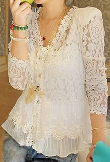 """Elegant V-Neck Openwork Long Sleeves Flouce Lace Blouse For Women. Too bad it doesn't come in my size. It's """"one size,"""" which fits Chinese XS to M. Fashion Moda, Womens Fashion, Fashion Trends, Cheap Fashion, Style Fashion, Bluse Outfit, Vetements Clothing, White Lace Blouse, Lace Button"""