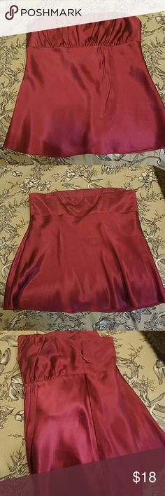 Ann Taylor Loft Silk Top EUC. 100% Silk. Does not have the straps. Side zip closure. Color is burgandy. Ann Taylor Tops