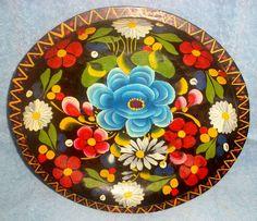 Vintage Mexican Folk Art Hand Painted Floral Batea Carved Wood Tole Dough Bowl | eBay