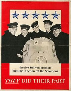 Poster commemorating the five Sullivan brothers, who died in the sinking of USS Juneau, 13 November 1942