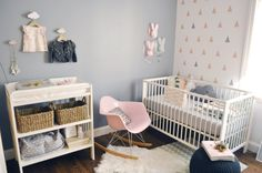 Feature wall grey - decals on white wall and bunnies - too cute (Lula's Baby Bunnyland)