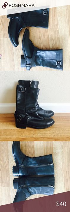 """Cole Haan Buckled Boot Super pretty leather boots with outer Buckle , inner zip. 1"""" heel . Sized 7.5B. Light wear as shown. No trades . Cole Haan Shoes Ankle Boots & Booties"""