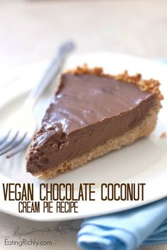 This rich creamy decadent chocolate coconut pie is dairy free and easily gluten free or vegan as well. Perfect for a Valentine's Day dessert! FromThis rich creamy decadent chocolate coconut pie is dairy free and easily gluten free or vegan as well. Vegan Dessert Recipes, Gluten Free Desserts, Dairy Free Recipes, Delicious Desserts, Gluten Free Vegan Cake, Tofu Dessert, Breakfast Dessert, Vegan Pie, Vegan Foods