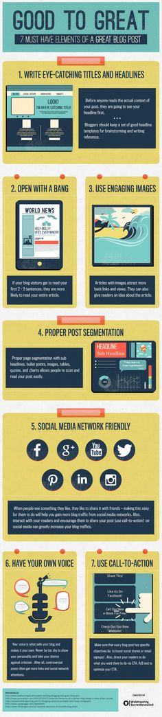 Good to Great: 7 Must Have Elements Of A Perfect Blog Post - #infographic #contentmarketing #blogging