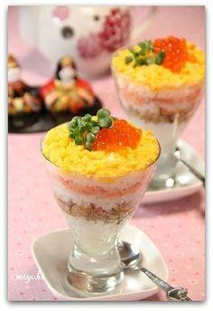 Suhi in cup (for Hinamatsuri)  ひな祭り*カップ入り重ね寿司|レシピブログ