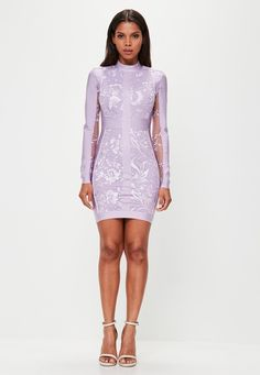 Missguided - Peace   Love Purple High Neck Bandage Lace Bodycon Dress