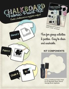 Chalkboard Fabric Paint Kits coming out later this year! See more Craft Trends and Products for 2014 from #plaidcrafts #crafts #DIY