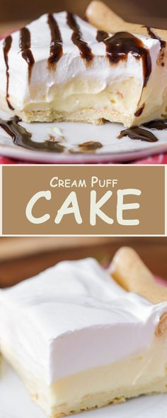 Cream Puff Cake - House Recipes & Home Decor - Cake Recipes Best Cake Recipes, Sweet Recipes, Dessert Recipes, Icebox Cake Recipes, Favorite Recipes, Healthy Recipes, Just Desserts, Delicious Desserts, Yummy Food