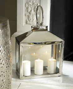 Seta Rectangular Windlight (lantern) from Lombok UK Silver Lanterns, Lanterns Decor, Candle Lanterns, Chandeliers, Lantern Candle Holders, My Living Room, Light Up, White Light, Christmas Inspiration