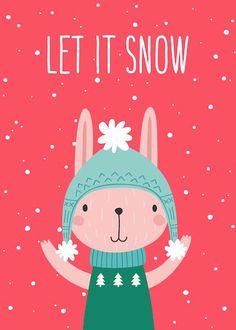 Printable Christmas Cards - Cute Winter Rabbit Free Printable Christmas Cards, Cute Bunny, Homemade Gifts, Free Printables, Diys, Card Making, Crafty, Rabbit, Holiday