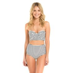 Women's Longline Underwire Bikini Top Black/White Stripe - Shade & Shore