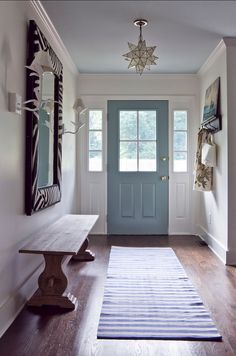 10 Welcoming Front Door Paint Colors -Stratton Blue by Benjamin Moore Front Door Paint Colors, Painted Front Doors, Paint Colours, Articles En Bois, Front Door Makeover, Entry Hall, Front Entry, Luxury Interior Design, Decor Styles