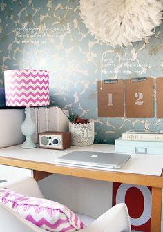 blue and raspberry pink office space; fun and girly