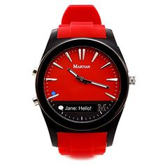 Martian Notifier Smart Watch: This attractive, colorful analog wristwatch works with select Android and Apple iOS phones. It features an integrated OLED readout that acts as a hands-free gateway to the world, keeping you well informed while your phone remains in a pocket, purse or backpack.