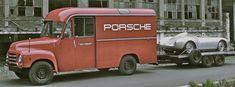 Porsche 550 Spyder and an Opel Blitz race transporter