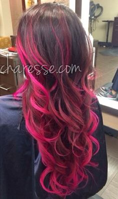 hot pink ombre Plus Pink Ombre Hair, Hot Pink Hair, Hair Color Pink, Brown And Pink Hair, Ombre Brown, Hair Colors, Colours, Pink Hair Highlights, Pinterest Hair