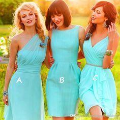 Sexy Vestidos One Shoulde or V - Neck Knee Length Green Chiffon Bridesmaid Dress 2016 Beach bridesmaids Wedding Party Dress Cheap Under 100