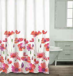 Caro Poppy Seed Cotton Shower Curtain Floral Botanical Nature Red Purple Green #CaroHome #Contemporary