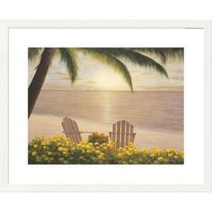 Global Gallery 'Coastal Side' by Side Diane Romanello Framed Painting Print Size: