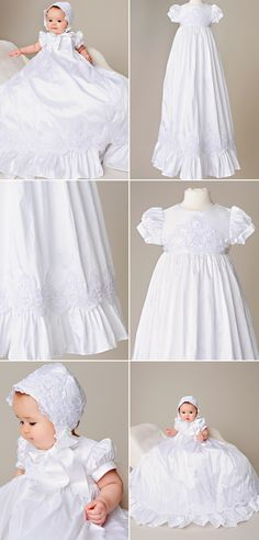 Victorian beaded lace ornate our 100 pure silk christening/blessing gown. Just gorgeous! Christening Gowns For Girls, Girls Baptism Dress, Baptism Gown, Baby Baptism, Blessing Dress, Cotton Slip, Beaded Lace, Lace Applique, Beautiful Gowns