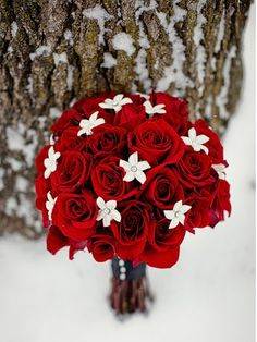 red & white bouquet.