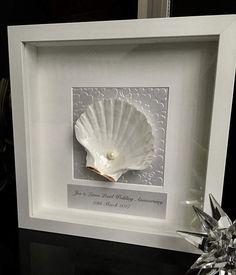 30th Wedding Anniversary gift. Pearl Anniversary. Shell art.