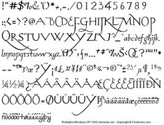 Complete character set of the Rodolphe handwriting font