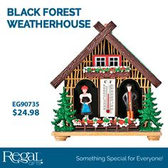 BLACK FOREST WEATHERHOUSE from Regal Gifts Classic weather house predicts the upcoming weather. Reacts with the air humidity and either the women comes out when it is dry or the man (with the umbrella) comes out to predict rain/snow. Includes thermometer as well. Plastic. Made in Germany. Product Number: EG90735 http://www.Regal.ca