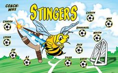 Stingers-46717  digitally printed vinyl soccer sports team banner. Made in the USA and shipped fast by BannersUSA. www.bannersusa.com