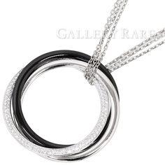 カルティエ ネックレス トリニティ ドゥ カルティエ ベリーラージモデル ダイヤモンド 0.82ct K18WGホワイトゴールド ブラックセラミック N3108500 Cartier ジュエリー ダイアモンド