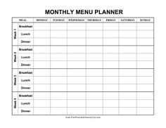 This monthly menu planner has four weeks of meals and sections for breakfast, lunch and dinner. Free to download and print