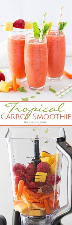 Tropical Carrot Smoothie - The Chunky Chef Tropical Carrot Smoothie - This simple to make carrot smoothie is bursting with tropical flavors and is so full of nutrients! Healthy never tasted so good! Yummy Smoothie Recipes, Smoothie Drinks, Healthy Smoothies, Yummy Drinks, Healthy Drinks, Shake Recipes, Smoothie Diet, Healthy Foods, Energy Smoothie Recipes