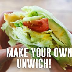 Make your own Jimmy John's Unwich! {VIDEO}, Make your own Jimmy John's Unwich! {VIDEO} Make your own Unwich at home - Jimmy John's style! Enjoy a healthy salad in the form oder Ähnlichesandwich. Healthy Recipes, Healthy Salads, Healthy Drinks, Gourmet Recipes, Low Carb Recipes, Cooking Recipes, Nutrition Drinks, Delicious Recipes, Dishes Recipes
