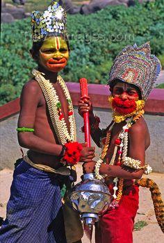 Hampi, Karnataka: Playing the God Hanuman During a Festival