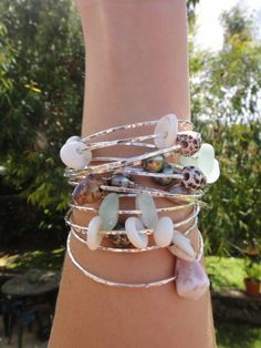 Make Your Own Custom Bangle Sterling Silver Shells by erina808, $30.00